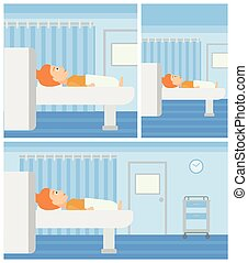 Young woman undergoes magnetic resonance imaging scan test at hospital room. Vector flat design Illustration. Square, horizontal, vertical layouts.