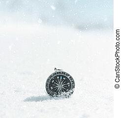 magnetisch, snowdrift., kompaß