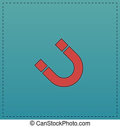 magnetism computer symbol - magnetism Red vector icon with...
