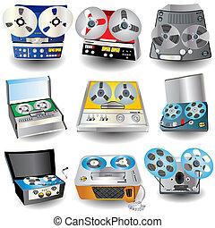 Magnetophone Icons Set