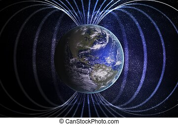 Magnetosphere or magnetic field around Earth. 3D rendered...