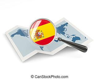 magnificado, bandera, de, españa, con, mapa