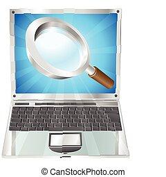 magnificar, ícone, busca, conceito, laptop, vidro