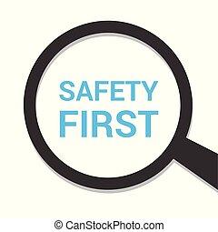 magnificar, óptico, vidro, com, palavras, segurança primeiro