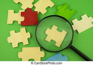 magnificar, pedaços, quebra-cabeça, jigsaw, vidro