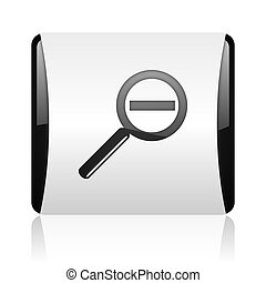 magnification black and white square web glossy icon