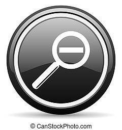 magnification black glossy icon on white background