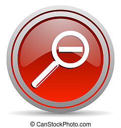 magnification red glossy icon on white background