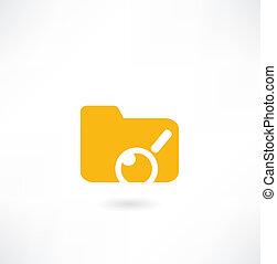 magnificatore, cartella, sotto, icona, carte