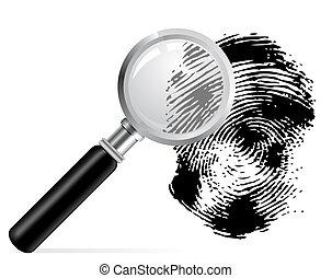 magnificatore, scaned, impronta digitale