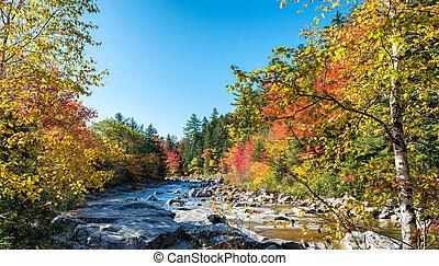 Magnificence of New England foliage scenario in autumn.