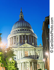 Magnificence of St Paul Cathedral at night - London - UK