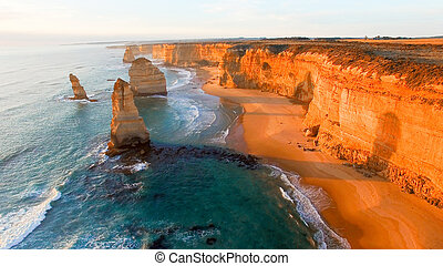 Magnificence of Twelve Apostles, Australia. Aerial view at...