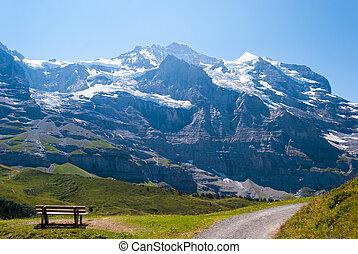 magnificent Alpine panorama of the peak of the Jungfrau. Grindelwald, Bernese Alps, Switzerland, Europe