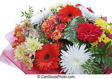 Magnificent bouquet of flowers on white