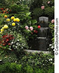 Magnificent cascade fountain in Butchard- garden