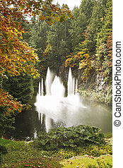 Magnificent dance fountain in Butchard-garden