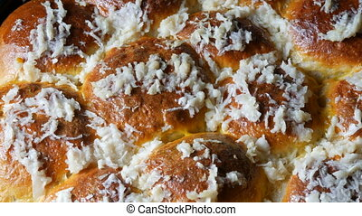 Magnificent fresh homemade baked pastries on which fresh garlic. Ukrainian buns