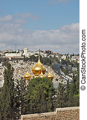 Magnificent gold domes of church in Jerusalem