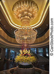 Magnificent huge luster in a lobby of prestigious hotel in China