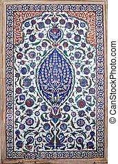 Magnificent Iznik tiles on exterior of tomb in Istanbul, Turkey