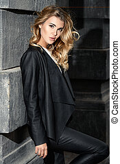 magnificent lady outdoor - Fashion shot. Beautiful young...