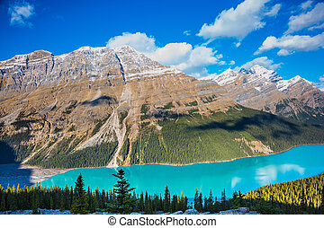 Magnificent mountain lake with turquoise glacial water. Banff National Park. Canada