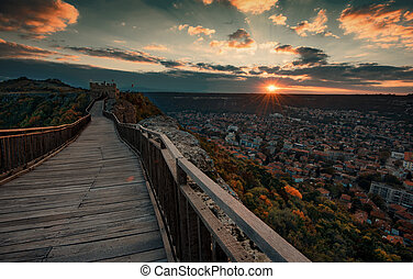 Magnificent landscape, sunset at Ovech Fortress, Bulgaria