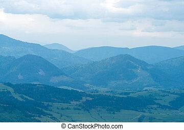 Magnificent landscape with blue mountains