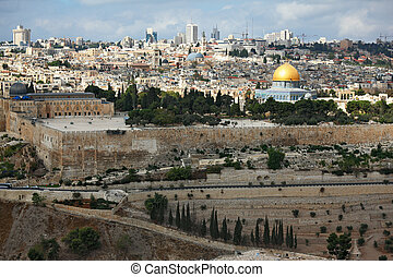 Magnificent panorama of Jerusalem. Dome of the Rock, Omar...