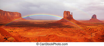 Magnificent rainbow in Monuments Valley in reservation of...
