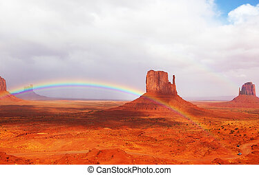 Magnificent rainbow in Monuments Valley