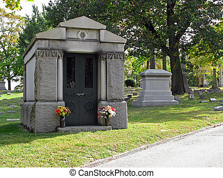magnificent stately mausoleum cemetery colorful flower vases
