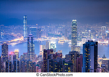 Magnificent view from Victoria Peak at night, Hong Kong.