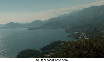 Magnificent view of Montenegrin bay on summer day. Turquoise...