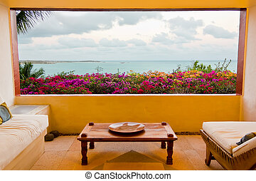 The Caribbean Sea seen from a luxury lounge room