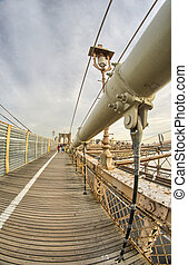 Magnificient structure of Brooklyn Bridge - New York City - USA
