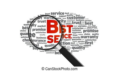 Best Service - Magnified Best Service Word Cloud Animation