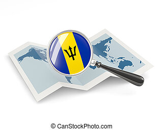 Magnified flag of barbados with map