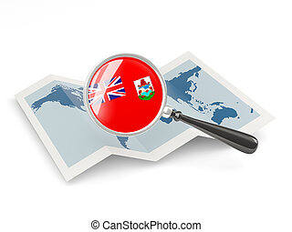 Magnified flag of bermuda with map