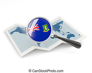 Magnified flag of british virgin islands with map