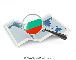 Magnified flag of bulgaria with map
