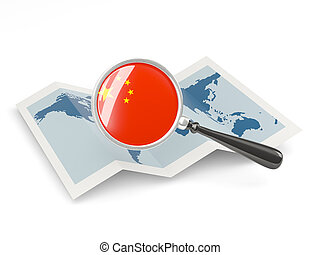 Magnified flag of china with map