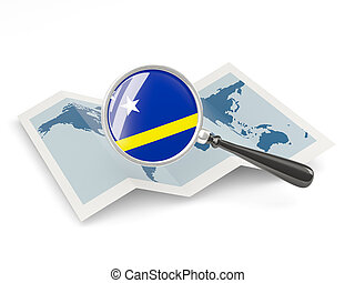 Magnified flag of curacao with map