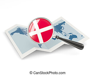 Magnified flag of denmark with map
