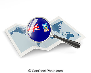 Magnified flag of falkland islands with map