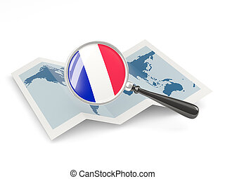 Magnified flag of france with map