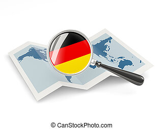 Magnified flag of germany with map