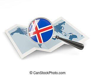 Magnified flag of iceland with map