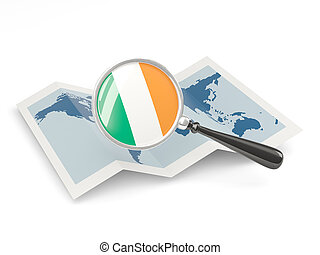 Magnified flag of ireland with map